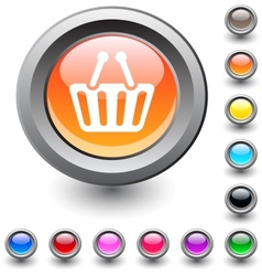 Shopping cart round button vector image vector image
