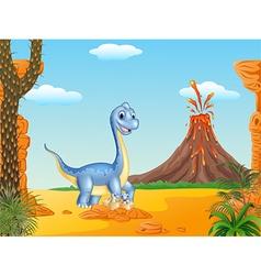 Cartoon mom and baby dinosaur hatching vector image vector image