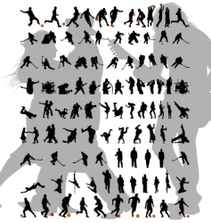 dance and sport silhouettes set vector image