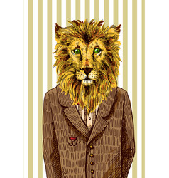 lion in a jacket vector image