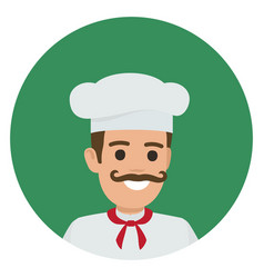 moustached smiling chief-cooker in green circle vector image vector image