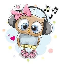 Owl Girl with headphones and hearts vector image vector image