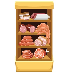 Shelfs with meat products vector image