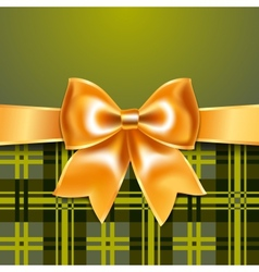 Tartan background with ribbon bow vector image vector image