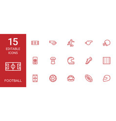 15 football icons vector image