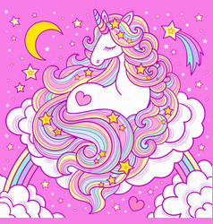 a cute white unicorn with long mane sits vector image