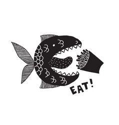 a fictional monster fish with an open mouth and vector image