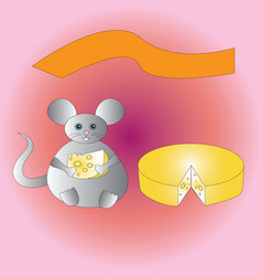 a happy fat mouse with a piece of cheese vector image