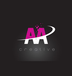 Aa a creative letters design with white pink vector