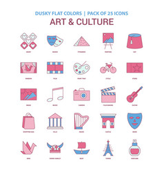 Art and culture icon dusky flat color - vintage vector