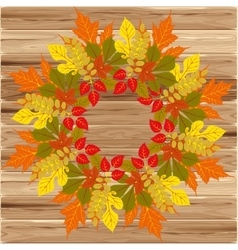 Autumn frame on wood background vector