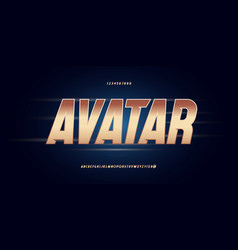 avatar font bold italic golden style vector image