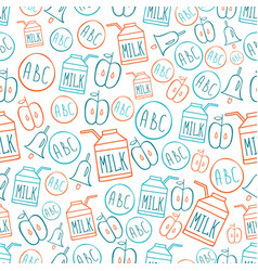 Back to school seamless pattern with symbols vector