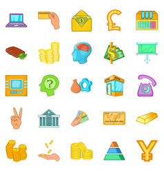 Bank icons set cartoon style vector