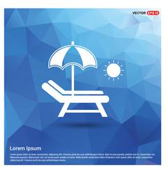 Beach umbrella with bed icon vector