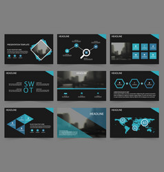 Blue black abstract presentation templates vector
