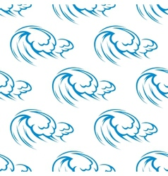 Blue ocean waves seamless pattern vector image