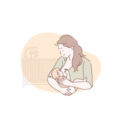 breastfeeding motherhood childhood concept vector image