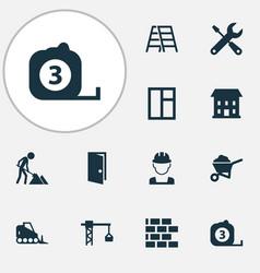 Building icons set with stepladder door builder vector