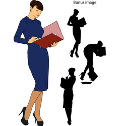 business girl with a folder vector image