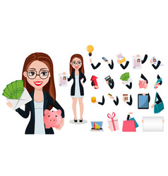 business woman cartoon character beautiful lady vector image