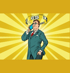 Businessman talking on the phone about finances vector