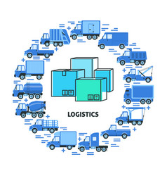 cargo transportation and logistics round concept vector image