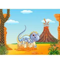 Cartoon happy mom dinosaur and baby dinosaurs vector image