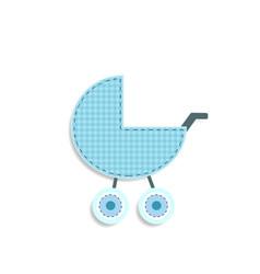 Checkered blue baby boy stroller sticker or icon vector