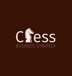 chess business strategy logo with knight vector image