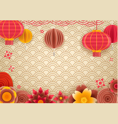 Chinese traditional style holiday frame template vector