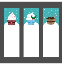 Christmas cupcake invitation template vector