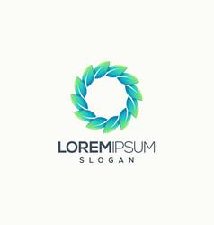 circle leaf logo design ready top use vector image
