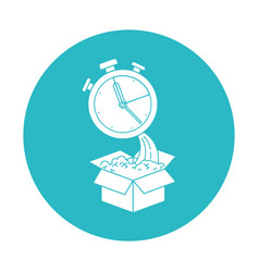 Circle light blue with cardboard box and stopwatch vector