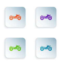 Color all terrain vehicle or atv motorcycle icon vector