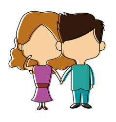 Couple of young man and woman hold hands romantic vector