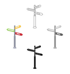 crossroad sign icon in cartoonblack style vector image