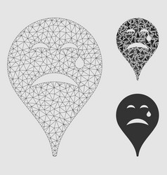 Cry smiley map marker mesh wire frame model vector