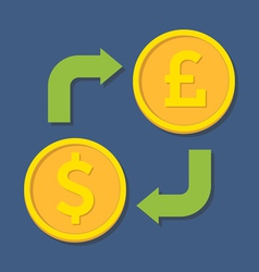 Currency exchange Dollar and Pound Sterling vector