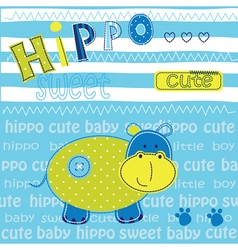 Cute baby background with hippo vector image
