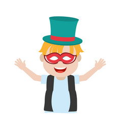 cute carnival boy with hat and mask vector image