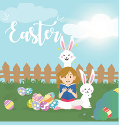 Cute girl with easter bunny vector