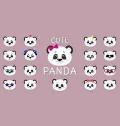 cute panda smiley a set of different emotions vector image