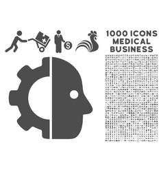 Cyborg Icon with 1000 Medical Business Symbols vector