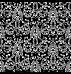 damask style floral ornamental black and white vector image