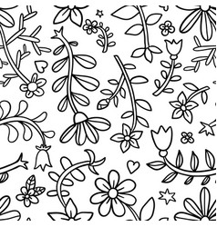Decorative graphic curly floral seamless pattern vector
