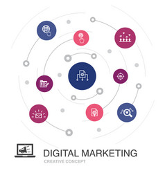 digital marketing colored circle concept with vector image