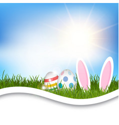 Easter background with eggs and bunny ears in vector