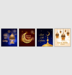 eid al adha festival banner set realistic style vector image