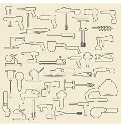 Electric construction tools linear icons vector